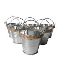 ingrosso mini vasi di latta di fiori-1Pcs Mini secchi colorati Vasetti di latta Piccoli secchi Vasetto in metallo per vaso da fiori
