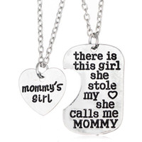 Wholesale Necklaces Pieces Sale - Hot sale Girl Stole Heart Mommy daddy series Mother's Day Father's Day family necklace WFN013 (with chain) mix order 20 1set=2 pieces