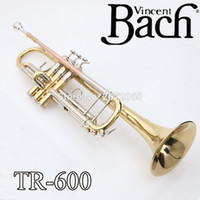 Wholesale bach tr - wholesale Promotion Bach Trumpet TR-600 Brass Small Trompeta Brass Instruments Cupronickel in Section Mouthpiece Gloves Musical Instrument