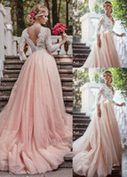 Wholesale Fantastic Wedding - Fantastic 2017 A-Line Lace Wedding Dresses With 3 4 Long Sleeves Blush Pink Tulle Skirt Country Wedding Gowns V-Neck Bridal Gowns Cheap