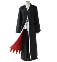ingrosso kimono cosplay nero-Anime BLEACH Death Kurosaki ichigo Cosplay Costume Shinigami Death Kimono Set completo Black Fitted (Cloak + Pants + Belt)