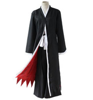 schwarzer cosplay kimono groihandel-Anime BLEACH Tod Kurosaki Ichigo Cosplay Kostüm Shinigami Tod Kimono Full Set Schwarz Ausgestattet (Mantel + Pants + Gürtel)