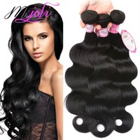 Wholesale Virgin Wavy Indian Hair Bundle - Brazilian virgin human hair unprocessed body wave natural color bundle Peruvian Malaysian Indian hair wet and wavy double weft free shipping