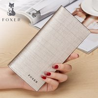 Wholesale Brown Female Leather Wallet - FOXER Famous Brand Women Leather Designer Wallet & Purse Fashion Gold Female Long Wallets QDH