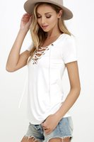 Wholesale Trial Sexy - women's T-shirt summer wear sexy fashion in Europe and America style v-neck pure color white T-shirt coat trials
