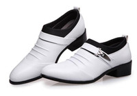 Wholesale White Wedding Wedges - 2017 men dress shoes handsome oxford shoes white pointed Social shoes 56