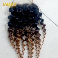 renk 27 kıvırcık toptan satış-Renk 1b 4 27 Brezilyalı frontal dantel Saç Ombre Kinky Kıvırcık Kapatma Ombre 3 Ton Derin Culry İnsan Saç Ücretsiz Bölüm Dantel Kapatma