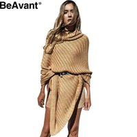 Wholesale Thick Sweater Scarves - Wholesale-BeAvant Thick pullover turtleneck poncho sweater women shawl scarf Autumn winter thick sweaters cape Casual khaki jumper sweater