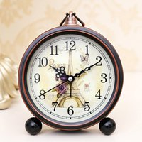 Wholesale Gold Decoration For Shoes - Vintage Metal Round Table Clock Home Room Decoration Eiffel Tower Mute Alarm Clock For Many Styles 16 8yy C R