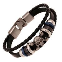 Wholesale leather cuff bracelet accessories online - ER Rock Skull Leather Bracelet Men Black Genuine Leather Braclet Women Hand Accessories Jewelry Braslet lMale Wrist Band LB234