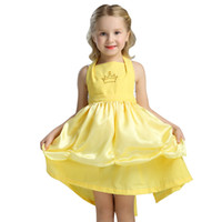 Wholesale Yellow Apron Wholesale - kids dancewer 2017 girls yellow strapless lace-up apron Belle princess dress Beauty and the beast children's day Performance clothing A0773