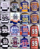ingrosso jersey blu giallo-New York Rangers 99 Wayne Gretzky Maglie Hockey St. Louis Blues LA Los Angeles Vintage Blu Bianco Nero Giallo Arancione