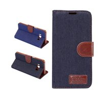 Wholesale Blue Jean Wallet - For LG G6 Jean Cloth Leather Wallet Case Jean Folio Flip Cover With Card Slot For Iphone 7 6 6s Plus Huwawei P10 Plus Samsung S8 Plus OPPBAG