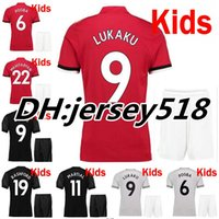 Wholesale United Kids - 2017 2018 kids POGBA soccer shirts Man Utd soccer jerseys 17 18 football shirt LINDELOF RASHFORD MKHITARYAN LUKAKU Children JERSEY united