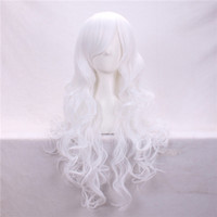 Wholesale Synthetic White Hair Bangs - Cosplay Hair Wigs 80cm Cheap White Long Body Wave Side Bang Heat Resistant Cartoon Synthetic Wig