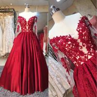 imágenes tops formales al por mayor-Imágenes reales Red Off The Hombro Ball Gown Vestidos de baile 2018 Sheer Illusion Long Sleeves Applique de encaje Top Vestidos de noche formales