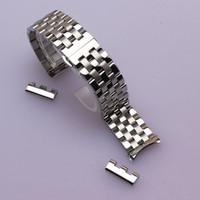 bandas de reloj de metal 24mm al por mayor-16 mm 18 mm 20 mm 22 mm 24 mm de alta calidad de plata banda de reloj de bolsillo negro del metal pulseras bandas pulseras finales comunes curvados extremos plegables
