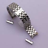 Wholesale Watch Flat - 16mm 18mm 20mm 22mm 24mm High quality Silver Depolyment Watchband Black Metal Watch Bands Bracelets Common curved end flat ends fold clasp