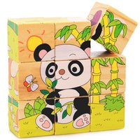 Wholesale Panda Jigsaw - Wholesale- 9Pcs Wooden Toys 3D Puzzle Educational Toys Six Sides Baby Panda Animal Jigsaw Hexahedral Puzzle Toy
