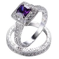 ametist altın düğün yüzüğü toptan satış-Kızlar Için zarif Ametist Yüzük Seti Beyaz Altın Dolgulu kadın Düğün Nişan Alyans Üst Moda Takı