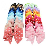 Wholesale Ribbon Spots - Baby Girl Hiar Clips 3 Inch Grosgrain Ribbon Polka Spots Bows With Clips Boutique Hair Accessories for Girls Bow Barrette Headwear 20 Colors