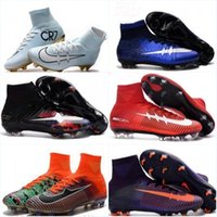 Wholesale Boys High Tops Shoes - High Top Soccer Shoes Mercurial CR7 Superfly V FG Boys Football Boots Magista Obra 2 Women Youth Soccer Cleats Cristiano Kids Ronaldo