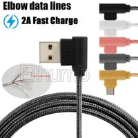 Wholesale Copper Elbow - USB cable braided colorful elbow micro usb cable Tin-plated copper 2A fast speed charging cable 4000+ bend lifespan for smartphone 1m 2m 3m