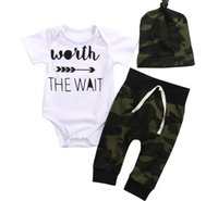 Wholesale boys rompers 18 months - 2017 Baby Rompers Clothing Sets Boys Girls Letters Toddler Romper Camouflage Pants Caps 3Pcs Set Cotton Infant Onesies Boutique Clothes