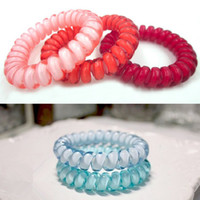 Wholesale Hair Designs For Girls - hairband hair bands rope elastic telephone wire design for Women girl Hair Accessories headwear holder candy color clear large