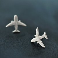 5 pares / lote Real Pure 925 Sterling Silver Jewelry For Women Simple Flying Airplane Mini Stud Earring For Girls