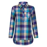 Wholesale Top Stylish Ladies Long Shirts - Brand Plaid Women Blouses Cotton Long Sleeve Shirts Turn Down Collar Ladies Tops M-XXL Plus Size Clothing Fashion 2016 Stylish