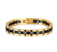 zirkonoxid keramik armbänder großhandel-7,5mm breit 186mm länge Gelbgold Wolframkarbid und Schwarz Zirkonia Keramik Armband Für männer und frauen Mode Armband