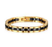 ingrosso braccialetti di tungsteno nero per gli uomini-Braccialetto in carburo di tungsteno giallo oro giallo largo 7,5mm e bracciale in zirconio nero da 7,5 mm per bracciali moda uomo e donna