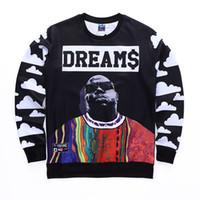 Wholesale Graphic Tops - Wholesale- Newest Men Women Crewneck 3D Sweatshirt Harajuku Style Graphic Hoodies Character Biggie Smalls 2PAC Tupac Hip hop Clothing Tops