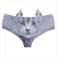 Wholesale Wolf Briefs Underwear - Hot new summer fashion brand digital printing ear slugs cat anti-wolf self-styled underwear sexy ladies milk silk underwear shorts