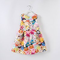 Wholesale Necklace Summer Dress Children - 2017 Summer New Baby Girl Dress Cartoon Face Print Sleeveless Fashion Sundress With Necklace Children Clothing 2216