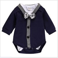 Wholesale Infant Boys Bowtie Rompers - 2017 New Baby Boys Gentleman Rompers Clothing Sets Toddler Long Sleeve Rompers With Bowtie 2pcs Set Newborn Jumpsuits Infant Suit Outfits