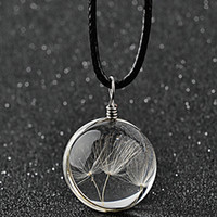 Wholesale Magic Seeds - Trendy Jewelry Statement Resin Dried flowers Necklace Dried plant Dandelion seeds amber Pendant Magic crystal ball Necklace Women 2017 x395