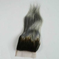 Wholesale ombre gray straight hair for sale - Group buy 4x4 quot Hot Sale Silver Grey Ombre Human Lace Closure B Grey Gray Straight Hair Closure Two Tone Ombre Lace Closure Free Part