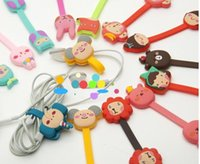 Wholesale Earphone Cable Line - Cartoon Cute Animal Cable Winder Charging Date earphone Line Cord Organizer For iphone Samsung HTC 20pcs