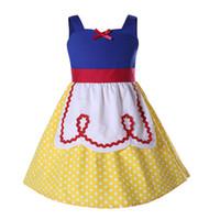 mavi elbise beyaz noktalar toptan satış-Pettigirl Yeni Stiller Kızlar Prenses Elbiseler Beyaz Nokta Baskı Mavi Sarı patchwork Elbise Kız Cosplay Kostüm Fantezi Elbise G-NBGD1004-2201