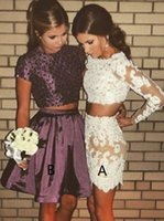 vestido largo de dos piezas al por mayor-2018 Purple Two Pieces Beaded Homecoming Vestidos Sheath Bateau mangas largas vestido de fiesta con apliques Prom Party Gowns