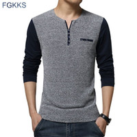Wholesale Korean V T Shirt Male - 2017 New Spring Fashion Brand O-Neck Slim Fit Long Sleeve T Shirt Men Trend Knitted Casual Men T-Shirt Korean T Shirts Male