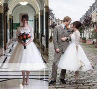 ingrosso fascini della chiusura lampo-Abiti da sposa in raso A-Line Merletto in chiffon A-Line 2017