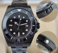 Wholesale Water Proof Watches Stainless Steel - 2017 New Luxury PVD Black Mens Watch Wristwatch Ceramic Bezel Sapphire Glass Stainless Steel Aaa Quality Seadweller Water Proof