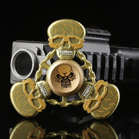 Wholesale Skull Colors - Metal Skull Figet Spinner Skull Tri-Spinner 3 Colors Zinc Alloy Hand Spinner Metal Fidget Spinners EDC Decompression Fidget Toys