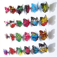 Wholesale 3d Artificial Butterflies - Wholesale 100pcs bag Double-sided adhesive Artificial Double layer butterfly sticker Home Decor new background three-dimensional 3D Stickers