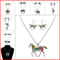 Wholesale Earring Pendants - Enamel Horse Elephant Crab starfish Necklace Earrings Jewelry Sets Pendants for Women Silver plated Enamel Jewelry Gift Drop Shipping