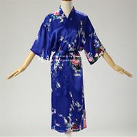 Wholesale Vintage Wedding Kimono - Wholesale- New Arrivals Silk Robes Print Kimono Robe Vintage Bathrobe Soft Sleepwear Robe Peignoir Wedding Robes Bridesmaid #H124