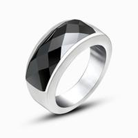homens de anel de gemstone preto venda por atacado-Homens da moda Titanium Anel de Alta Qualidade Preto Titanium gemstone ring design mens Para Homens E Mulheres